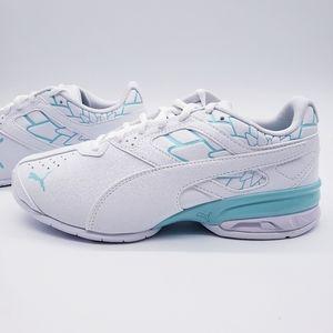 Puma Tazon 6 FM White Aruba Blue Sneakers Women's